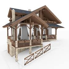 chalet houses chalet and alpine houses 8 in 1 collection 3d model cgstudio