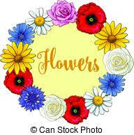 daffodils flower poster with wreath of wild flowers with