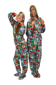 winter footed pajamas with big footed onesie