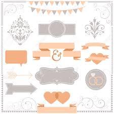 set of wedding invitation design ornaments royalty free cliparts