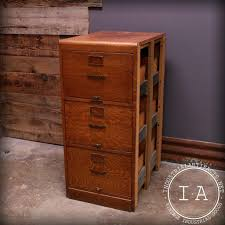 vintage quarter sawn oak 3 drawer file cabinet library bureau