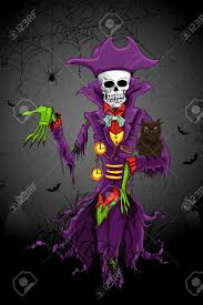 illustration of halloween ghost with skull head royalty free