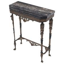 Marble Console Table Antique Italian Black Marble Console Table With Lion Figures On