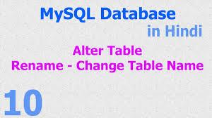Change Table Name In Mysql 10 Mysql Database Tutorial Alter Change Rename Table