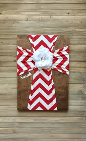 Red And White Chevron Fabric Cross Decorative Crosses Unique