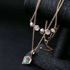 new year jewelry two layers geometric pendant necklace india new look happy new