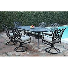 Patio Furniture Swivel Chairs Amazon Com Cbm Outdoor Patio Furniture 7 Piece G Aluminum Dining