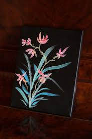 Japanese Flowers Paintings - japanese style flower painting acrylic on canvas by artstuffbyjess