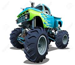 cartoon monster truck separated by groups and layers with