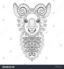 vector zentangle ram head illustration goat stock vector 390458077