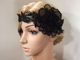 lace fascinator 1920s gatsby flapper black flower lace headband bridal hair