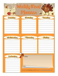 thanksgiving dinner menu template free printable meal planner november