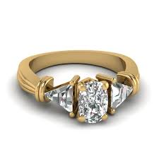 womens diamond rings trillion 3 cushion diamond wedding ring in 14k yellow gold