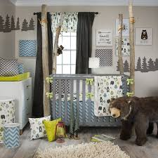 this outdoor forest and bear theme baby room is accented with a