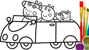 how to draw peppa pig family in car coloring pages videos for kids
