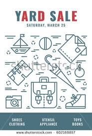 vector line style illustration garage sale stock vector 613410659