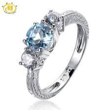 natural rings images Hutang wedding rings 1 58ct natural blue topaz solid 925 sterling jpg