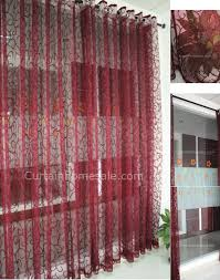 Sheer Burgundy Curtains Lace Curtain With Cool Patterns Sheer Curtain