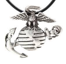 marine jewelry pewter usmc marine corps insignia semper fi pendant on leather