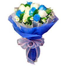 white and blue roses philgifts white and blue bouquet blue to