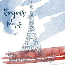 sketch of eiffel tower on a watercolor background vector free