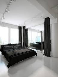 apartment bedroom black bed white quilt decoration and interior