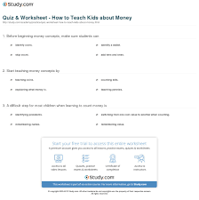 quiz u0026 worksheet how to teach kids about money study com