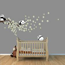 stickers panda chambre bébé panda cherry tree wall decals white cherry blossoms branch