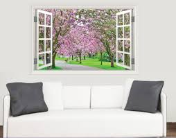 cherry blossom trees window scene full colour wall sticker cherry blossom trees window scene full colour wall sticker living room kitchen bedroom decal mural transfers