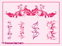 vintage floral ornaments set vector graphics freevector