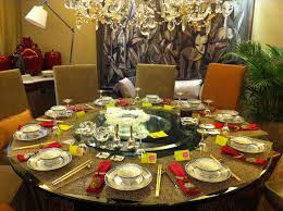 round chinese dining table from top view stock photo chinese