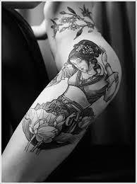 outer thigh geisha tattoo design tattoos ideas geisha tattoo