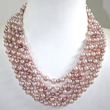big fashion pearl necklace images Multi strand pink pearl necklace jpg