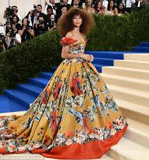 zendaya wears a dress printed with birds to the met gala daily