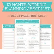 printable wedding planner wayfaring wanderer 12 month wedding planning checklist free