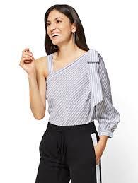 one shoulder blouse ny c 7th avenue one shoulder blouse stripe