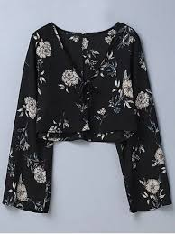 floral blouse cropped floral blouse black blouses m zaful