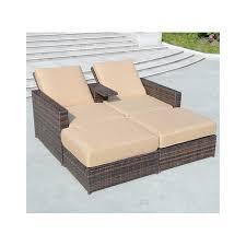 brilliant outsunny folding pe rattan wicker patio chaise lounge