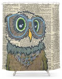 society6 owl wearing glasses shower curtain contemporary