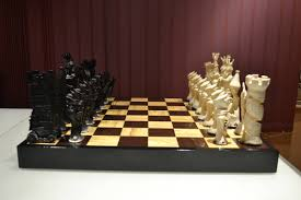 unique chess set hand made with polymorph thermoplastic album