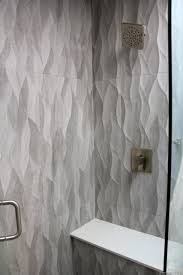 Master Bathroom Shower Tile Ideas by Large Plank Gray Wave Tile Shower Walls Misty Carrara Cesarstone