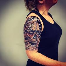half sleeve skull tattoo design creativefan