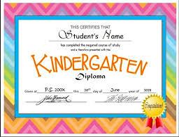 kindergarten certificates kindergarten pre k diploma certificate templates autism