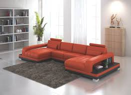 Large Sectional Sofa With Chaise by Orange Leather Double Chaise Sectional Sofa With End Tables Also