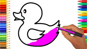 learn colors for kids with rubber duck coloring book how to draw
