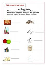 Count And Noncount Nouns Exercises Elementary Worksheets Non Count Nouns