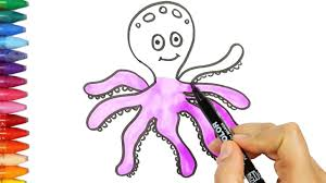 octopus drawing and coloring book how to draw and color kids tv