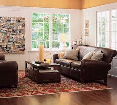 Living Room Ideas With Leather Sofa Small Leather Sofa Pottery Barn Living Rooms With Leather Sofa