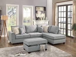 grey fabric modern living room sectional sofa w wooden legs f6543 sectional sofa in light grey fabric by boss w ottoman