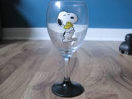 Wine Glass Keychain Snoopy And Woodstock Wine Glass